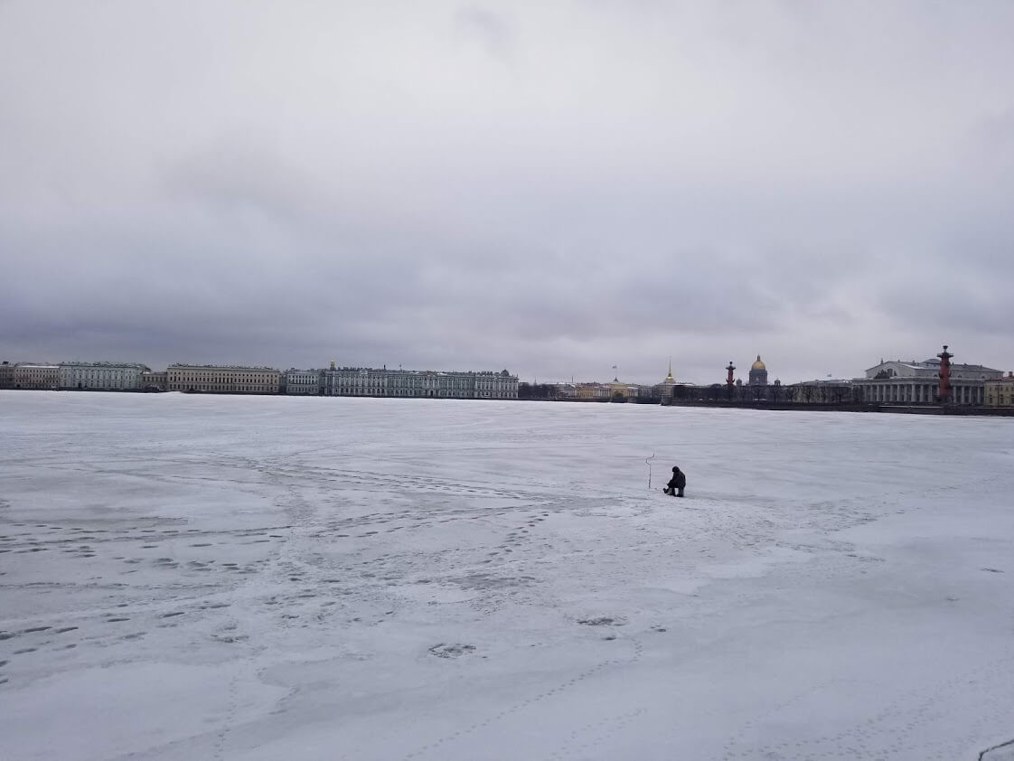 Ice fisherman in St. Petersburg
