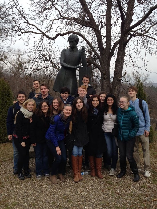 American students in Moldvoa with Pushkin statue