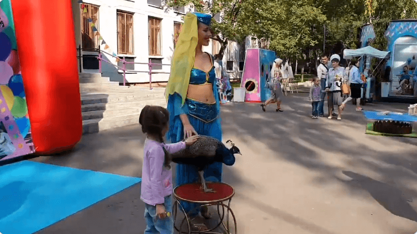 Peacock and belly dancer at Russian elections