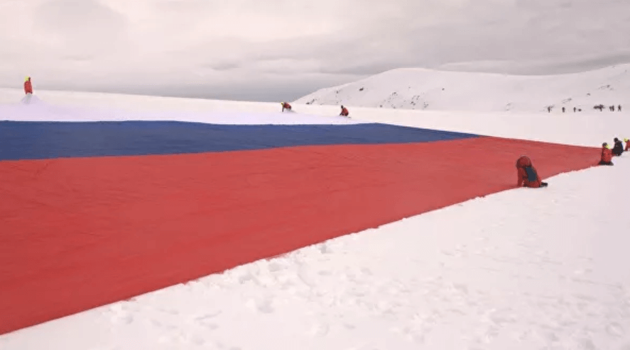 Russian flag in Antarctica