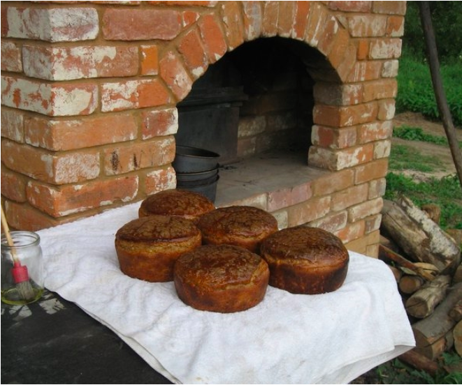 Black bread outside Russian stove