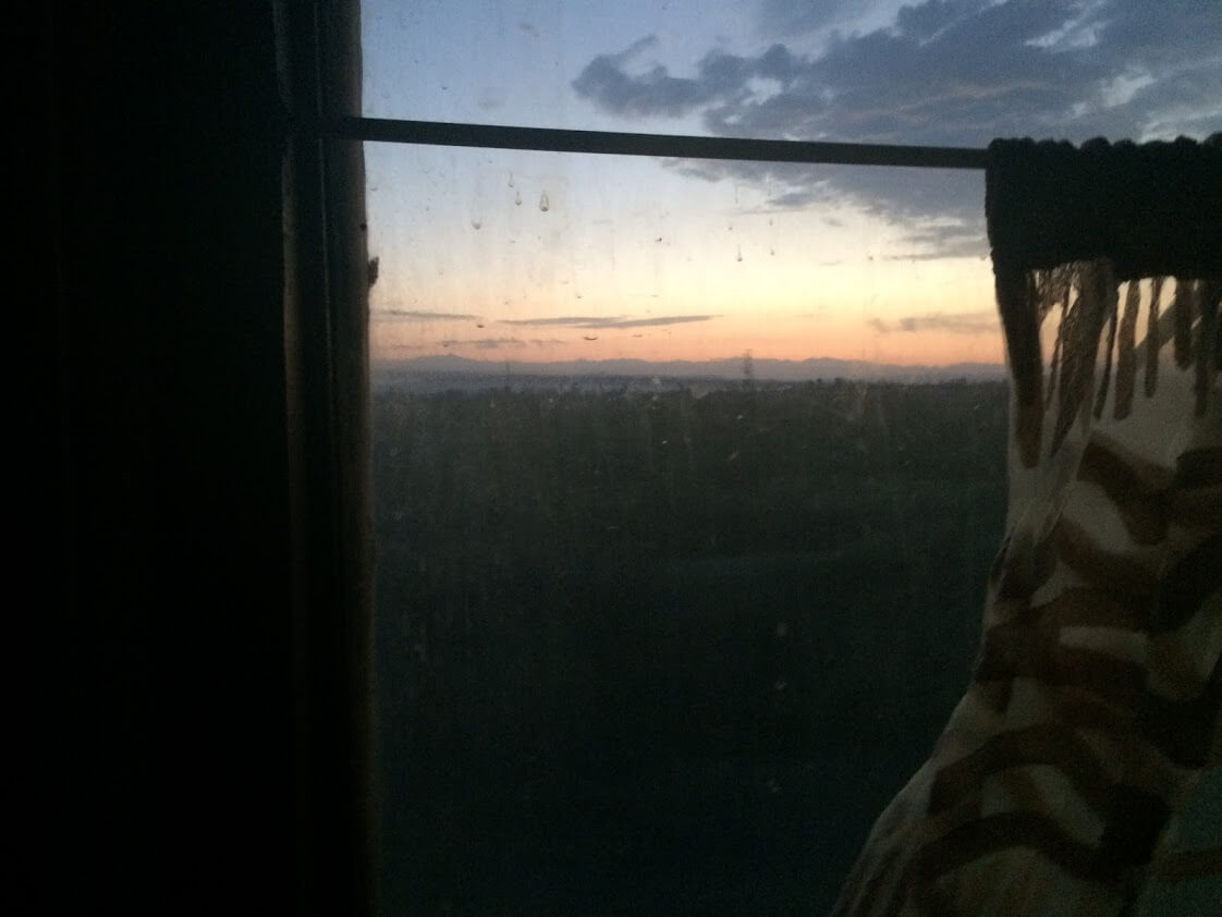 Sunrise on Russian train