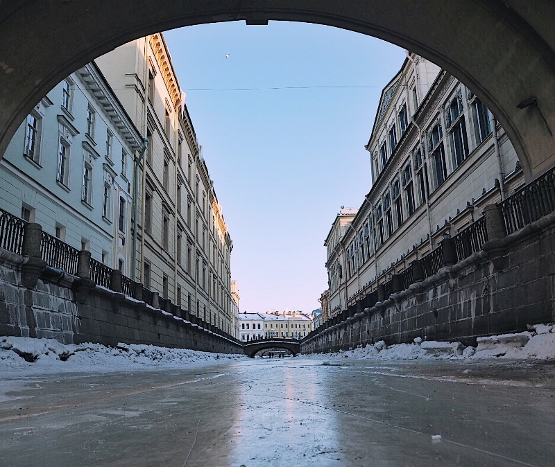 Winter canal in St. Petersburg