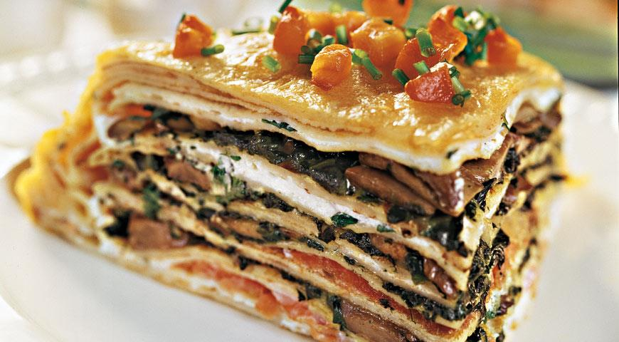 Cheese and trout blini pie