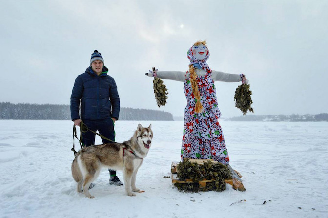 Husky with Lady Maslenitsa