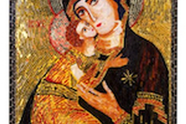 Virgin of Vladimir Mosaic icon on View
